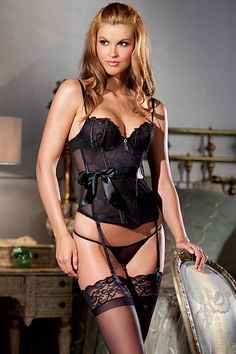 Black Lace Bustier with Ribbon Tie