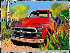 Red Chevy truck. Painting by Craig S. Nelson
