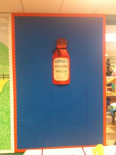 I also made a giant medicine bottle for the children's work to be displayed around. Georges Marvellous Medicine, Medicine Bottles, Roald Dahl, School Lessons, Working With Children, Infants, School Stuff, Literacy, Study