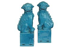 Large Turquoise Sitting Foo Dogs, Pair on OneKingsLane.com