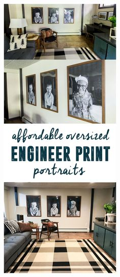Oversized engineer print portraits
