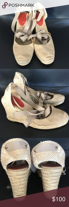 Christian Louboutin Espadrilles in tan Christian Louboutin espadrilles in tan cotton with inside soft leather lining      Ballet style lace up  size 38 Christian Louboutin Shoes Espadrilles