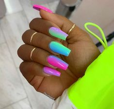 45 Cute & Stylish Summer Nails for 2019 – Krys._officiel 45 Cute & Stylish Summer Nails for 2019 Vibrant Multi Color Nails for Summer Bright Summer Acrylic Nails, Best Acrylic Nails, Black Acrylic Nails, Bright Nails, Black Acrylics, Neon Nail Designs, Acrylic Nail Designs, Coffin Nails Designs Summer, Crazy Nail Designs
