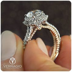 This captivating flower design diamond engagement ring makes an amazing gift for the woman in your life whether a wife, friend or mother. It features a white gold diamond encrusted band with an intricately designed white gold flower with diamond c Verragio Engagement Rings, Shop Engagement Rings, Engagement Ring Settings, Halo Engagement, Unique Rings, Beautiful Rings, Do It Yourself Fashion, Or Rose, Rose Gold