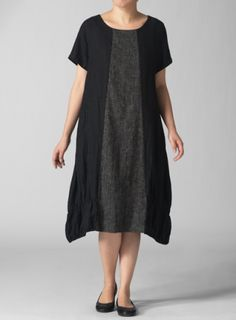 Vivid Linen Round Neck Short Sleeve Black Dress