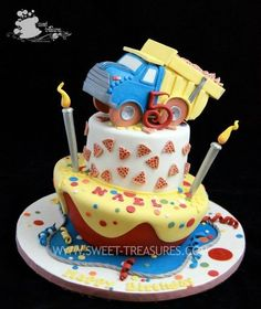 Pizza Truck Cake  Cake by Sweet Treasures