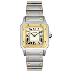 Cartier Women's W20012C4 Santos 18K Gold and Stainless Steel Watch: Watches
