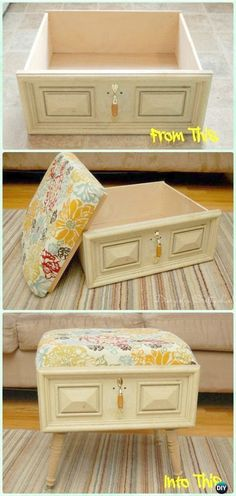 DIY Old Drawer Ottoman Instructions - Practical Ways to Recycle Old Drawers for . - DIY Old Drawer Ottoman Instructions – Practical Ways to Recycle Old Drawers for Home fu - Refurbished Furniture, Repurposed Furniture, Furniture Makeover, Furniture Storage, Vintage Furniture, Furniture Outlet, Cheap Furniture, Smart Furniture, Handmade Furniture
