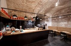 Built by sporaarchitects in Budapest, Hungary with date Images by Danyi Balázs. Take a 80 square meter ground floor flat in the downtown of Budapest, and transform it into an artisanal coffee shop,. Cafe Bar, Cafe Restaurant, Restaurant Design, Coffee Shop Design, Cafe Design, Store Design, Coffee Shops, Espresso Cafe, Commercial Architecture