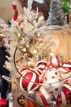 red and white ornament centerpiece