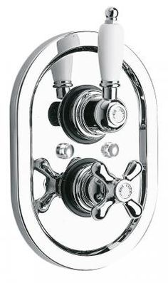 Wentworth Concealed thermostatic shower valve by VADO. -- Available in Chrome and Antique Gold finishes, with White handle detail. -- Traditional values with refined characteristics; a flawless finish for modern-classic bathrooms.