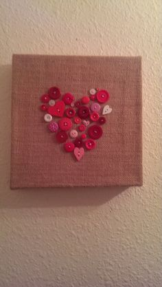 Handmade Burlap heart Canvas Art with buttons... would make a cute valentines day gift/decoration