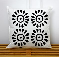 Sun Drops Tribal Pattern 15x15in Decorative Throw PIllow, Adinkra Symbol, African Pattern, Contemporary Home Decor. $24.90, via Etsy.