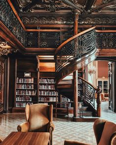 Beautiful, beautiful old library! Look at the stairs, the ceiling, the comfy armchairs . if I could I would definitely hop on an air plane to Budapest. Home Library Design, Modern Library, House Design, Home Library Rooms, Library Wall, Design Desk, Dream Library, Grand Library, City Photography
