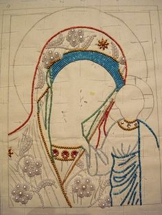 Pearl Embroidery, Beaded Embroidery, Embroidery Stitches, Hand Embroidery, Christmas Journal, Catholic Crafts, Mary And Jesus, Beaded Cross, Monastery Icons