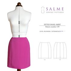 PDF Sewing pattern - Fitted Panel Skirt