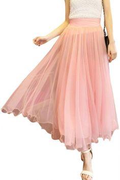 Plain High Elastic Waist Mesh Maxi Skirt