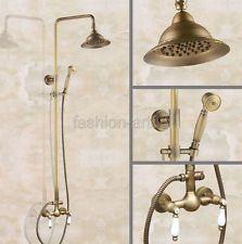 Antique Brass Retro Bathroom Rain Shower Faucet Set Mixer Tap Hand Shower Fan115