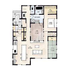 ・33坪・3LDK・2階建・ワークコーナーのある家・子育て中で、在宅でお仕事をされている方や、デスクにむかう趣味を楽しみたい方のための間取りです・LDKを見渡せるので子どもの様子も見えて安心です!・人によるかもしれませんが、壁に向かって作業をするより、壁を背にする方が集中力もか高まったりするそうです。・個人的には少し高い位置くらいが集中しやすい気がするので、少し床高さもあげてみました・子どものスタディーコーナーとしても活用できます✏️・ロールカーテン等で仕切れるようにしておけば、簡易的に...Segunda favorita !!!! Apartment Layout, House Layouts, House Plans, Arch, New Homes, Floor Plans, Loft, Flooring, How To Plan