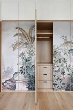 MWAI - Human spaces with craft Wardrobe Door Designs, Wardrobe Design Bedroom, Wardrobe Doors, Bedroom Decor, Whole House Ventilation, Wallpaper Door, Wallpaper Panels, Custom Wallpaper, Engineered Timber Flooring