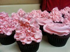 dark chocolate cupcake, strawberry italian meringue icing