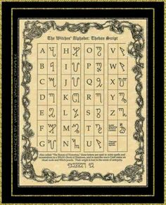 Witches Alphabet Wiccan Pagan witchcraft