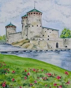 Buy The Olavinlinna Castle Original cityscape watercolor painting by Svetlana Vorobyeva., Watercolor by Svetlana Vorobyeva on Artfinder. Discover thousands of other original paintings, prints, sculptures and photography from independent artists. Watercolors, Watercolor Paintings, Original Artwork, Original Paintings, Castle Painting, Oil Painting Tips, Fortification, Simple Art, Impressionist
