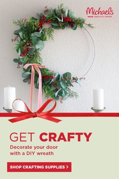 Find all the craft and art supplies you need for DIY Holiday decorations at Michaels. Choose from project categories to browse through what's new and trending. Tap the Pin to shop. Christmas Wreaths To Make, Christmas Ribbon, Diy Christmas Ornaments, Rustic Christmas, Christmas Holidays, Holiday Decorations, Holiday Crafts, Diy Wreath, Beautiful Christmas