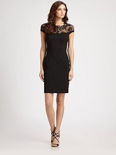 ABS - Lace-Trimmed Dress - Saks.com    Beautiful dress... wish it was a few inches longer!