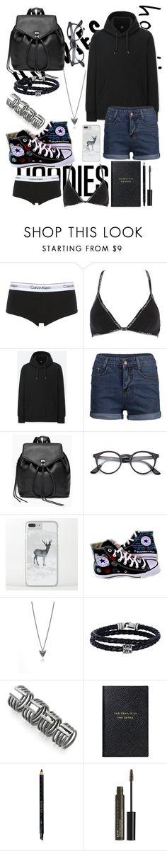 """black tumblr hoodie"" by natrocker ❤ liked on Polyvore featuring Calvin Klein Underwear, Uniqlo, Rebecca Minkoff, Converse, Rachel Entwistle, Phillip Gavriel, Maison Margiela, Smythson, Gucci and NYX"