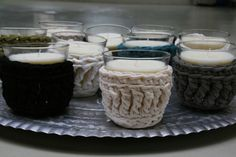 knitted candle holders