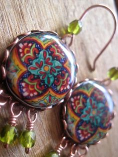 Decorative plate earrings Talavera pottery by ShrunkenCatHeads