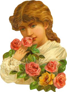 Victorian Lady with Roses Die Cut
