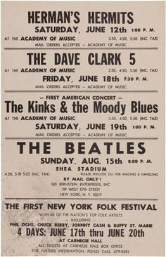 The Kinks first American concert, at the Academy of Music in New York City, 19th June, 1965.