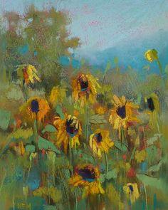 SUNFLOWERS Landscape Original Pastel by KarenMargulisFineArt