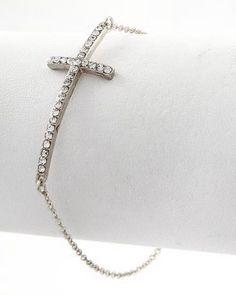 Silver Crystal Cross Bracelet