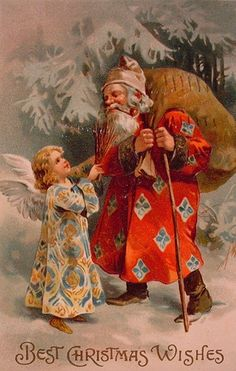 Red Santa with diamond pattern on coat with little angel.