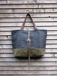 Wool tote bag with waxed leather handles and by treesizeverse, $139.00