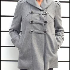 Grey wool coat Fully lined beautiful grey wool coat. In excellent condition! Worn 2 times here in sunny California:) Banana Republic Jackets & Coats Pea Coats