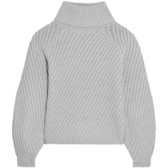 Iris and Ink - Antonia Ribbed Merino Wool Turtleneck Sweater ($220) ❤ liked on Polyvore featuring tops, sweaters, jumpers, light gray, light grey sweater, turtle neck top, merino wool turtleneck, turtleneck sweater and summer sweaters