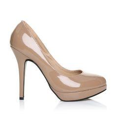 e8fd8d9020278d Damen Pumps  EVE  High Heels Stöckelschuhe Lackleder PU Leder Stilettos  High Heels Plateau Pumps - Dunkle Hautfarbe Lackleder