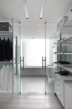 Most master baths have two spaces allocated to two separate functions that are consistently crossing over in their use. Most people dress in the bathroom and not in the closet (I'm guilty of this!) and so the closet is completely underutilized. Especially the floor space within the area. Consider lining the bath with a wardrobe style closet system and grabbing more space from the function of the closet.