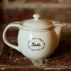 Red Berry Wreath Hand Painted Teapot