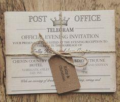 SAMPLE  Vintage Travel Wedding InvitationTelegram by QuaintlyKate