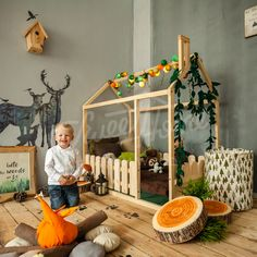 Forest theme child room wooden theme kids room Frame bed children bed play tent house bed toddler bed floor bed baby room nursery crib home bed Pikler baby bed teepee fence Baby Boy Rooms, Baby Cribs, Baby Room, Child Room, Kids Rooms, Room Kids, Toddler House Bed, Kids House, Toddler Beds For Boys
