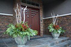 Door Arrangements, with fresh greenery, berries, magnolia, and birch! Designed by Sharlene Nielsen Homebrew Recipes, Home Brewing, Magnolia, Birch, Greenery, Berries, Doors, Fresh, Plants