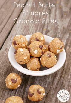 Peanut Butter S'mores Granola Bites #recipe l www.a-kitchen-addiction.com