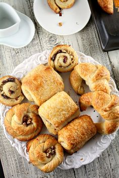 French pastry: -Croissants, Danish Swirls, Rolled Danish Pastries and Pain au Chocolate - Cherry Clafoutis - Cream Puffs