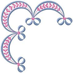 Plants Embroidery Design: Corner Bow Border from Gunold