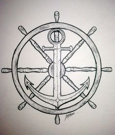 A ship anchor and wheel tattoo symbolises a constant change of direction in life and hope for stability. It suggests that the person with the tattoo is in control but is still searching for where they would like to drop anchor and settle down.